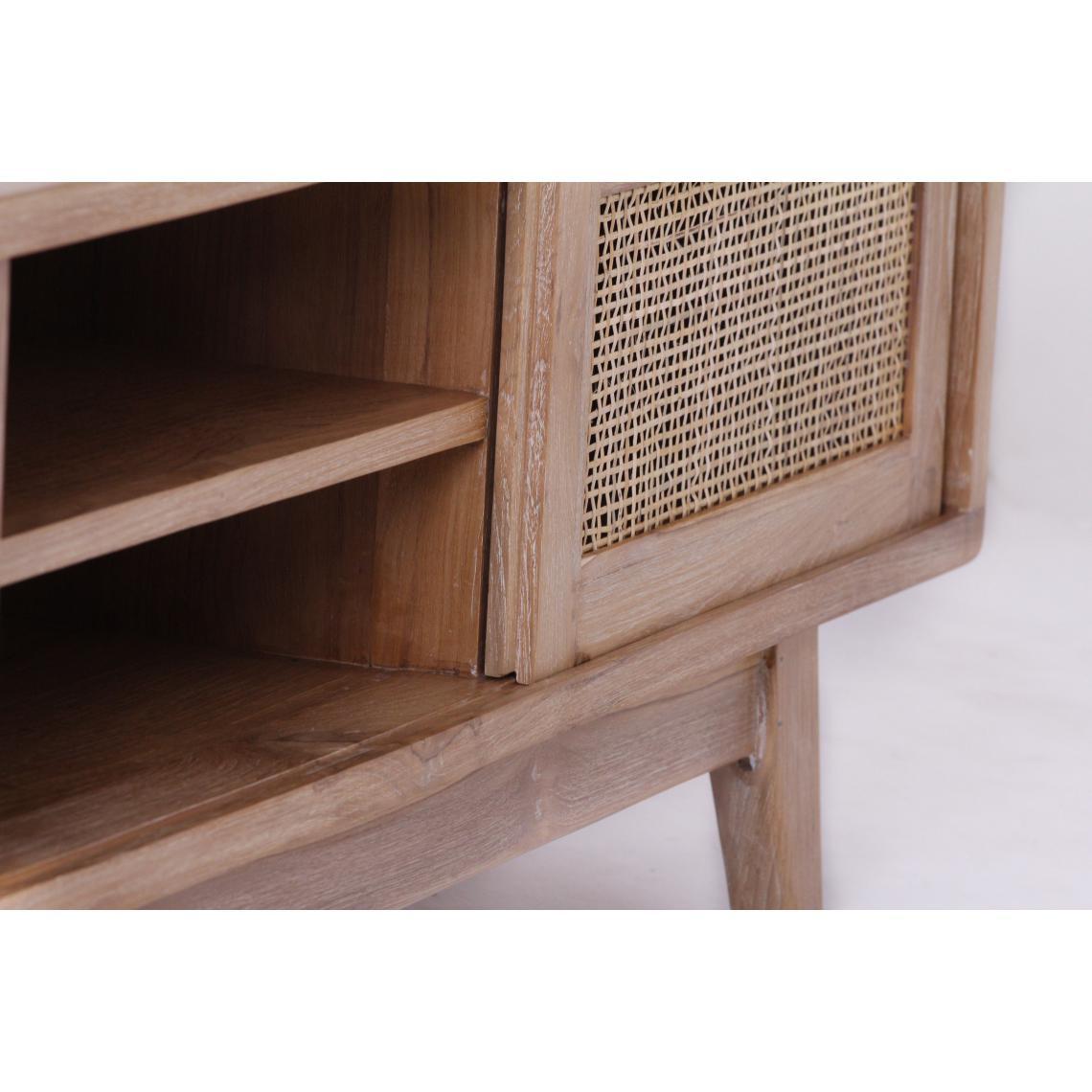 teck massif beige clemence meuble tv
