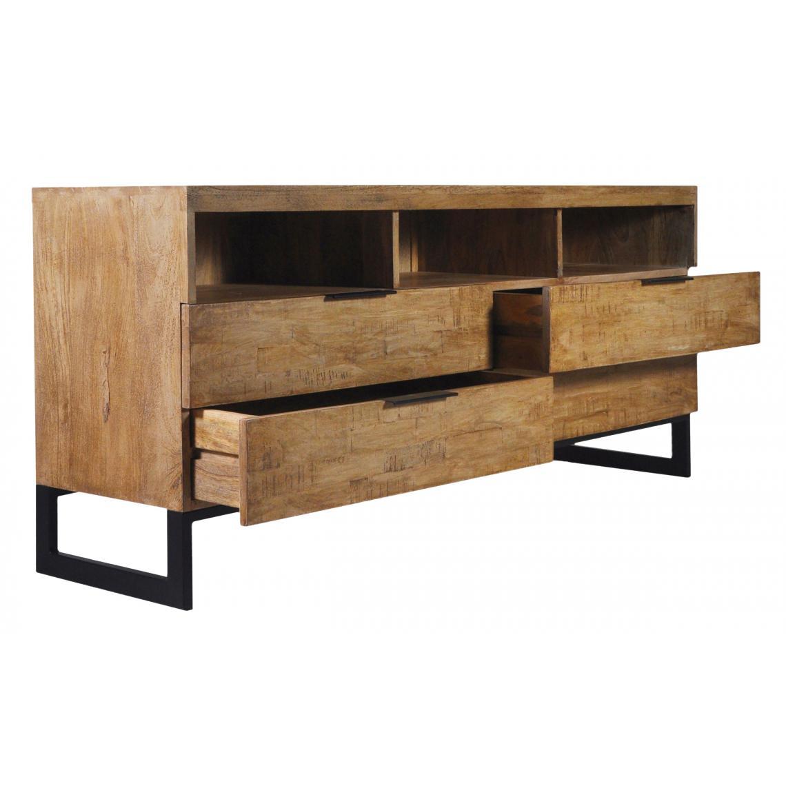 meuble tv en bois massif chene clair avec 4 tiroirs et 3 niches focili