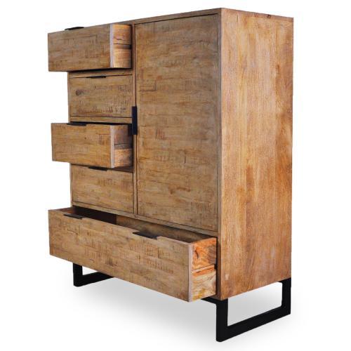 buffet haut industriel en bois massif chene clair avec 4 tiroirs et 1 porte battante focili