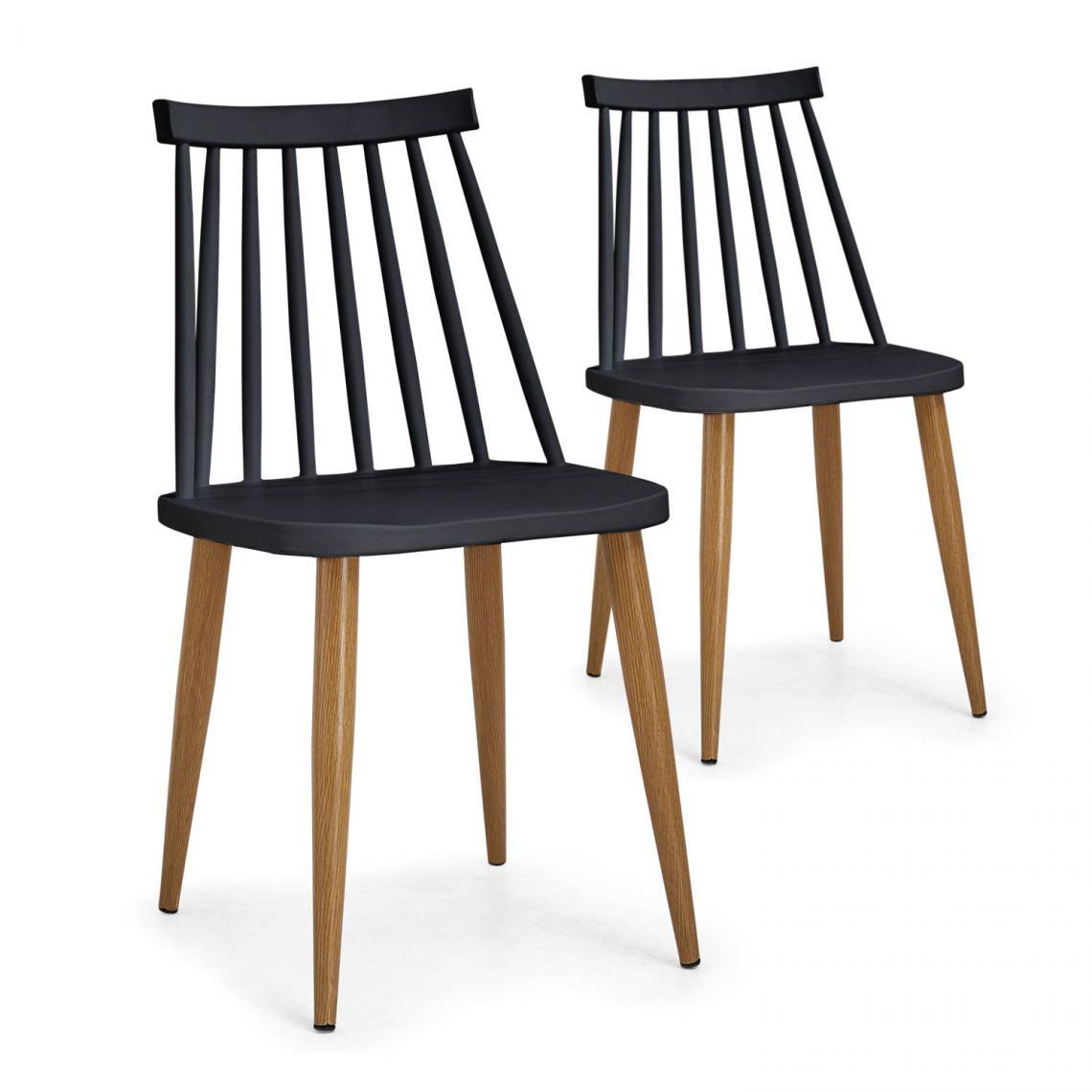 lot de 2 chaises noir tragli