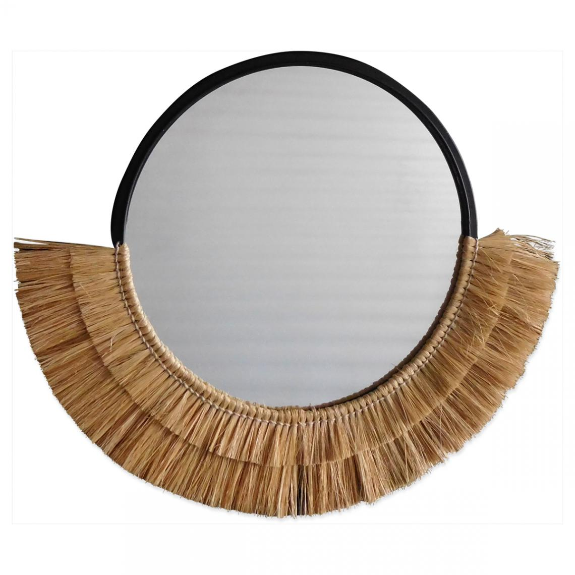 miroir rond demi lune en fibres nturelles nurli