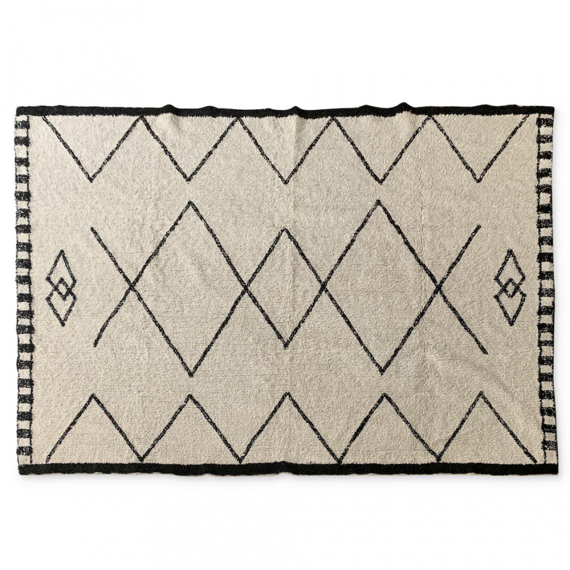 tapis berbere artisanal noir et blanc bouazza 160 x 230 cm
