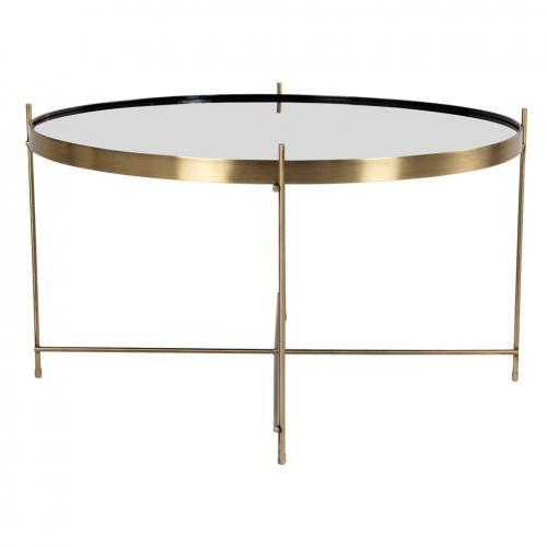 table basse ronde 70 cm en verre et en acier dore choqui