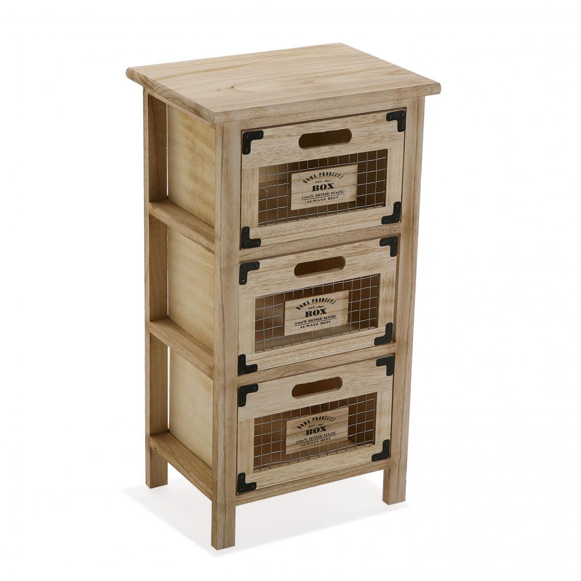 meuble de rangement 3 tiroirs bois clair marecha