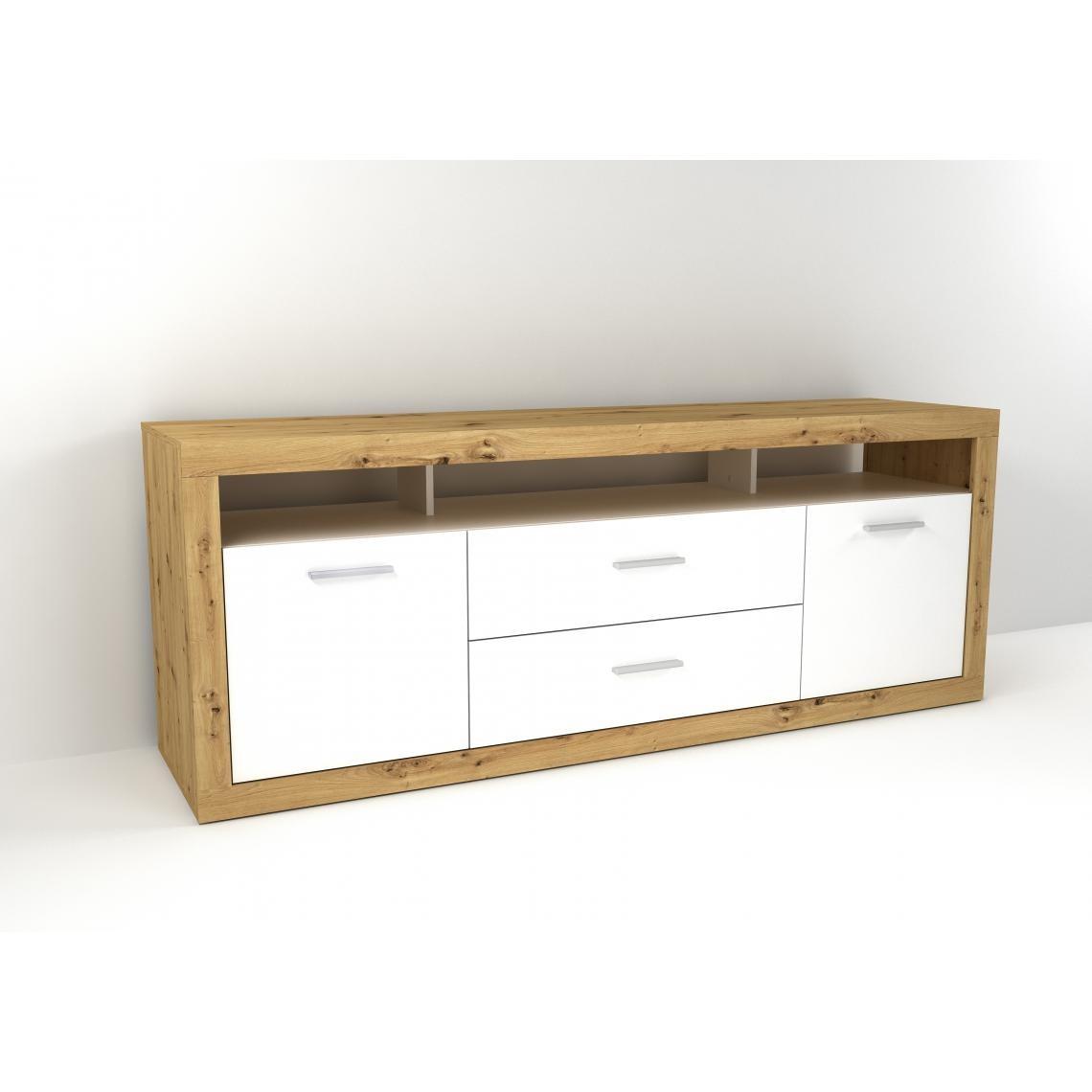 meuble tv scandinave bois clair et blanc caly