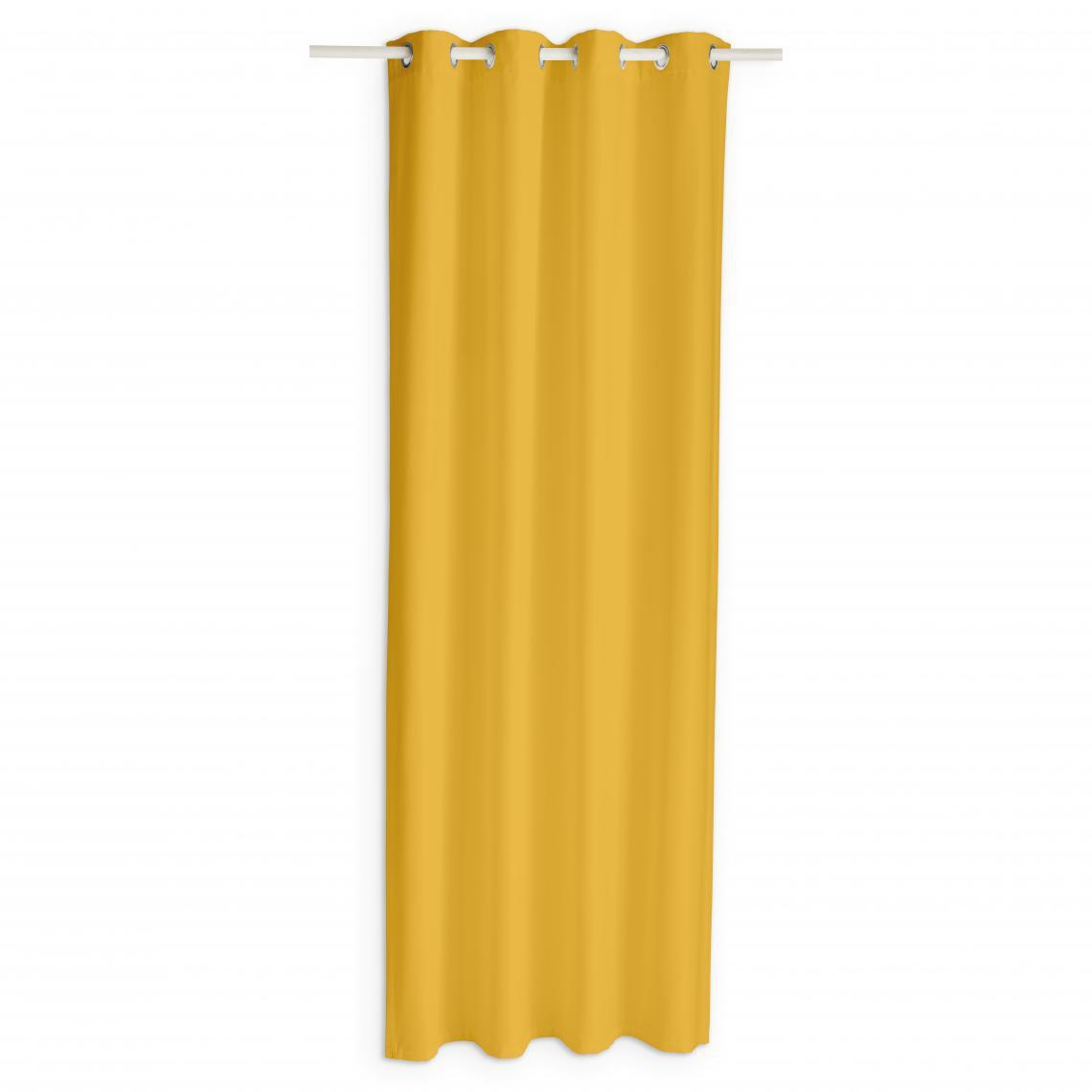 rideau occultant a œillets jaune