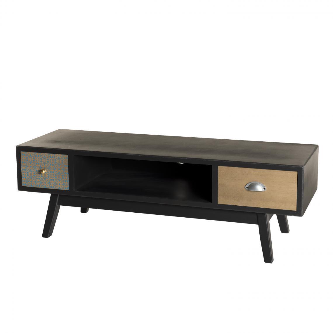 meuble tv 2 tiroirs pin noir mat kano