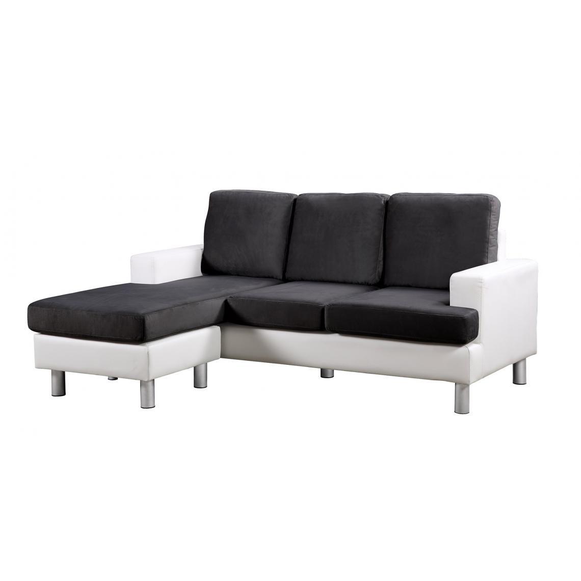 canape d angle reversible simili cuir noir et blanc cinema