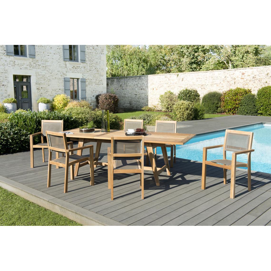 salon de jardin en bois teck 8 10 pers ensemble de jardin 1 table rectangulaire scandi extensible 180 240 100 cm 6 fauteuils empilables