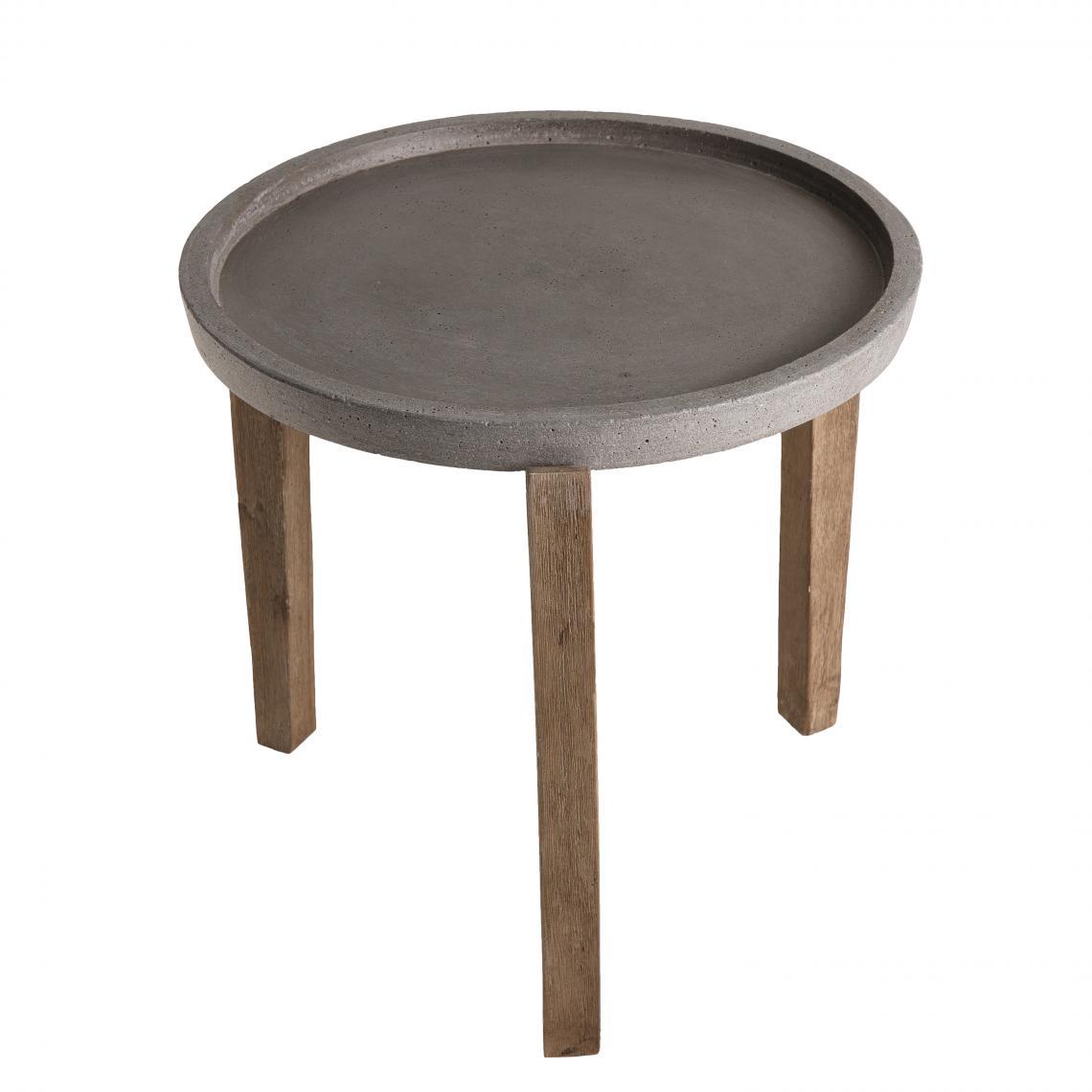 table d appoint de jardin ronde beton 50x50 cm pieds en bois acacia