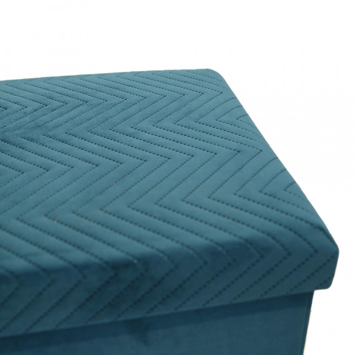 coffre banc pliable en velours bleu