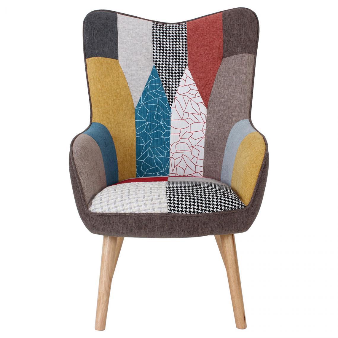 fauteuil scandinave tissu patchwork coro