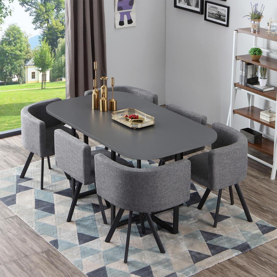 table et chaises gris et tissu gris branco