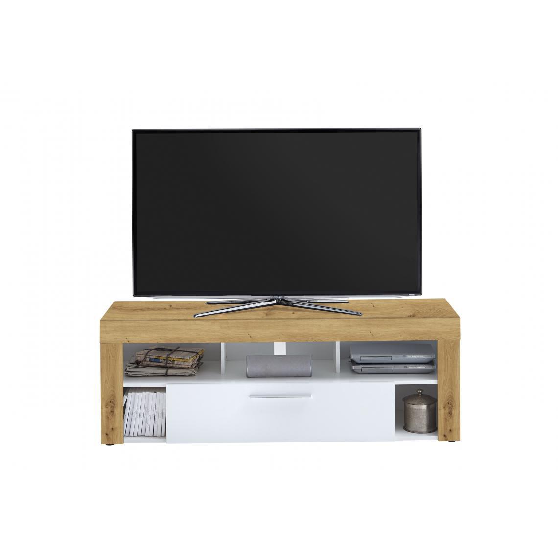 meuble tv blanc et chene alna