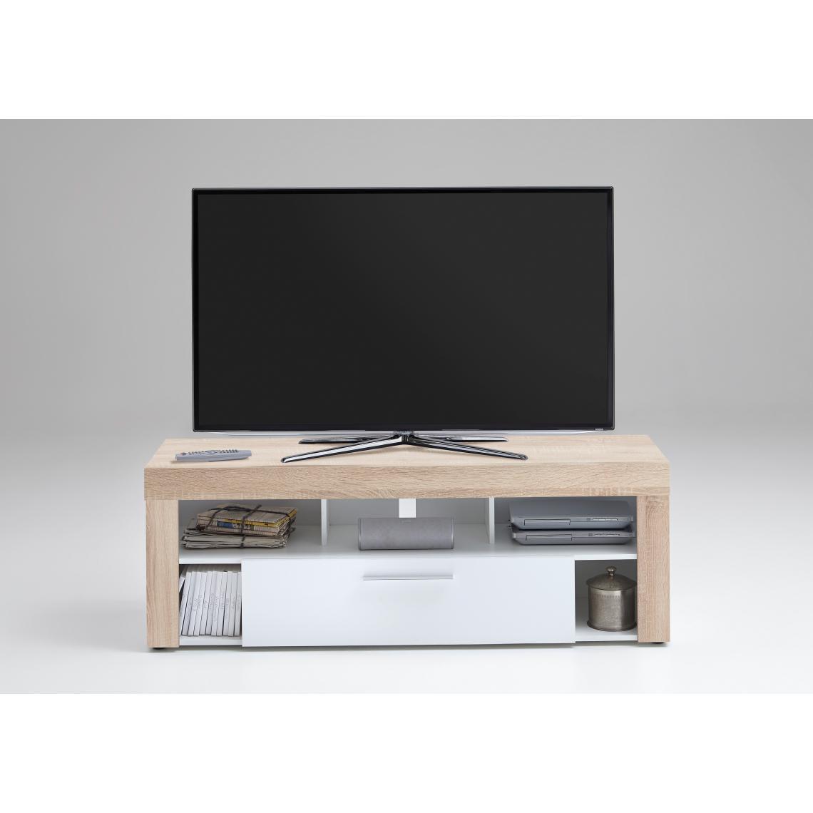 meuble tv chene clair et blanc alna