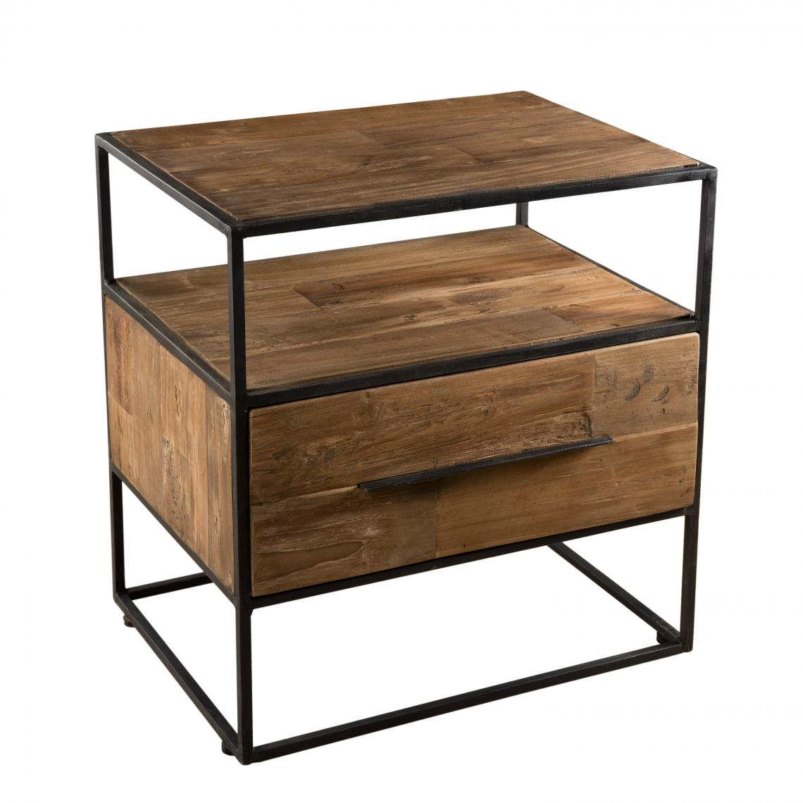 table d appoint 1 tiroir 1 etagere bois