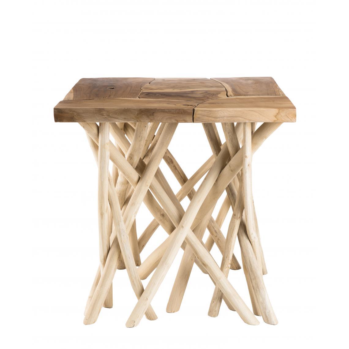 table d appoint bois nature plateau teck pieds bois flotte kelya