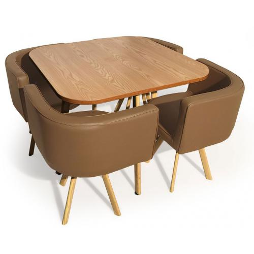 table avec chaises encastrables scandinaves taupe copenhague