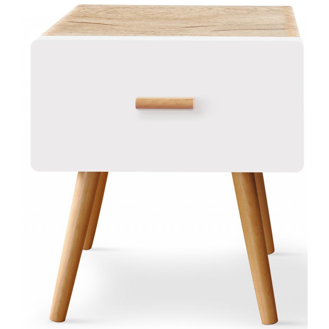 table de chevet blanche et bois filia