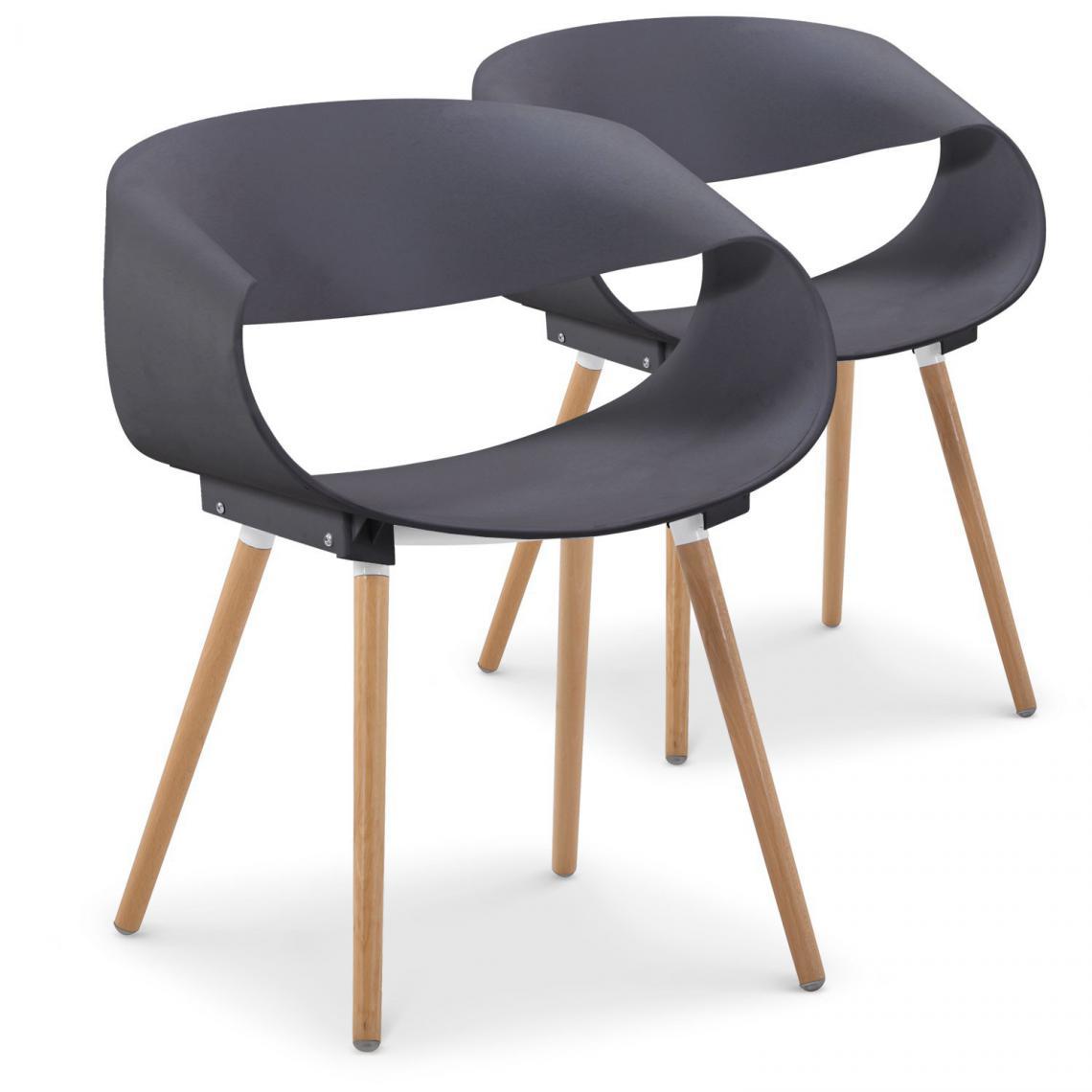 lot de 2 chaises design grises eik
