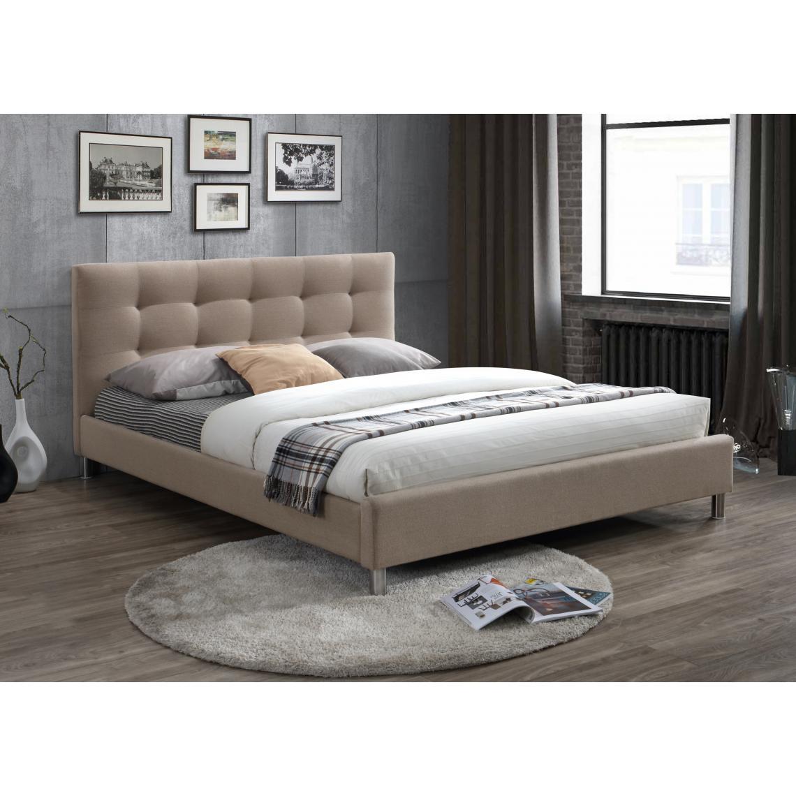 lit beige 160 en tissu avec tete de lit capitonnee eva