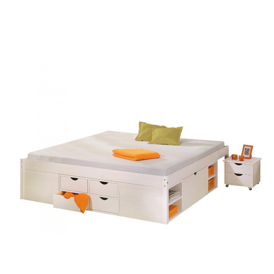 lit en bois avec espaces de rangement mobiles blanc 140x190 kolo