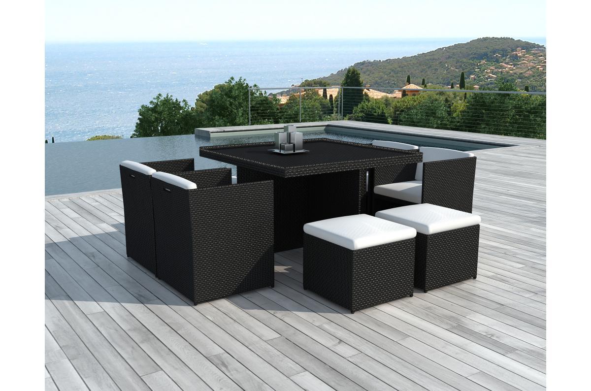 table repas outdoor 4 fauteuils 4 poufs en resine tressee marron zaya