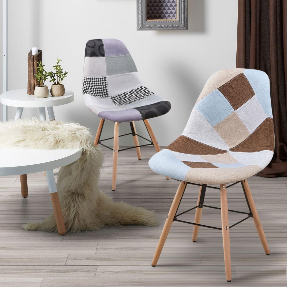 lot de 2 chaises scandinaves patchwork gris ovide