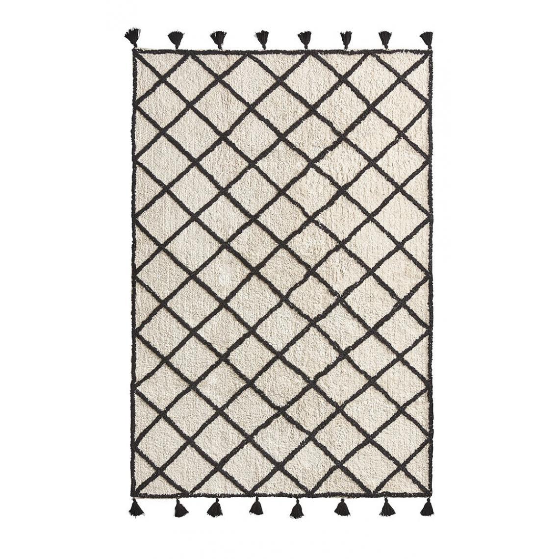 tapis berbere avec pompons noir beige 120x180 bamby