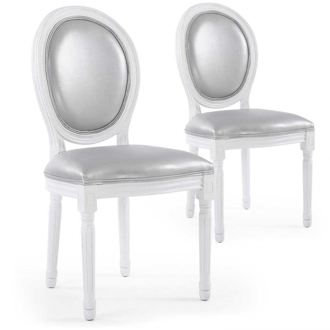 lot de 2 chaises medaillon argente alnobak
