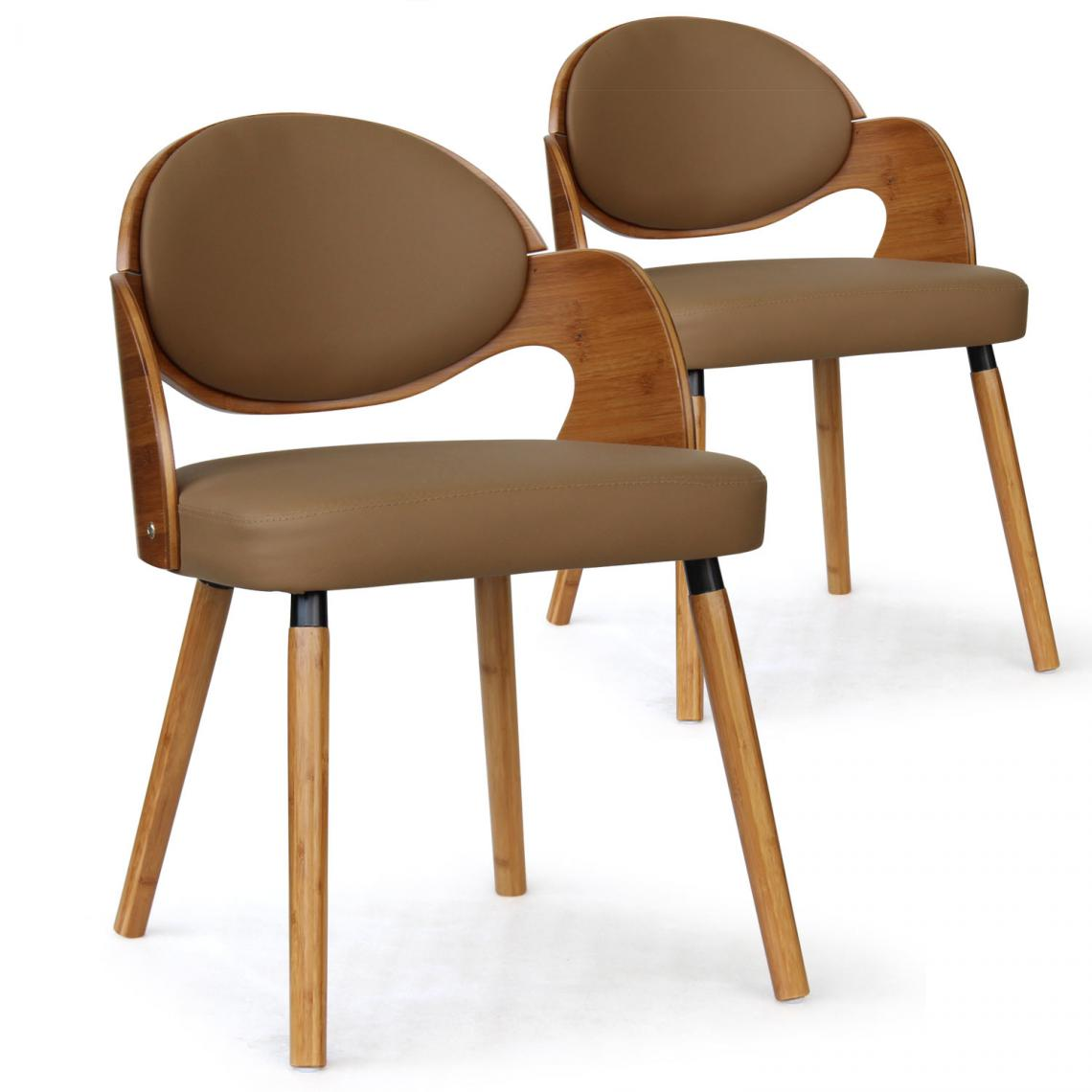 lot de 2 chaises scandinaves chene clair taupe alsea