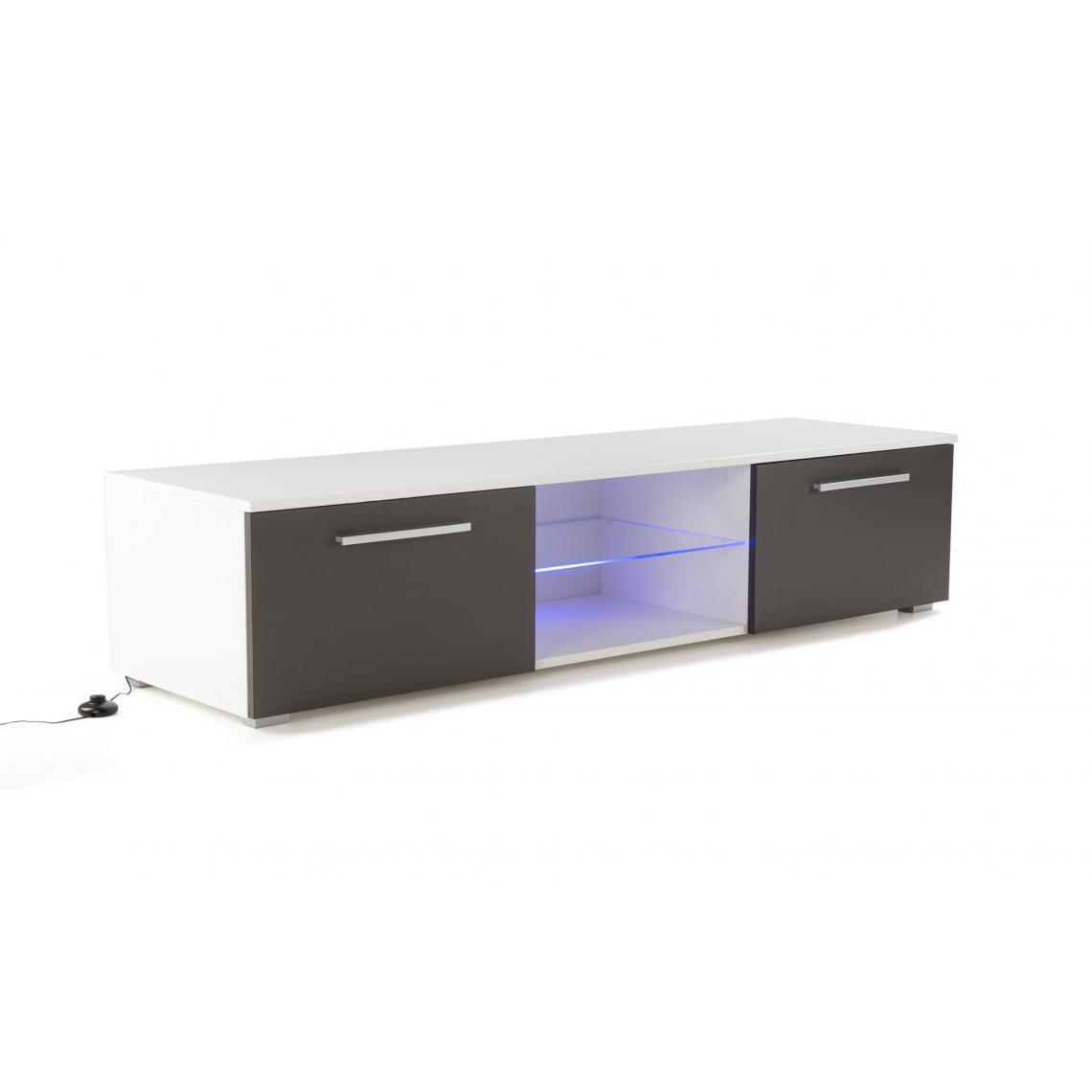 meuble tv led integree blanc gris salto