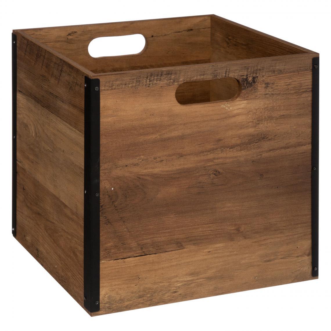 boite de rangement 31x31 bois industriel