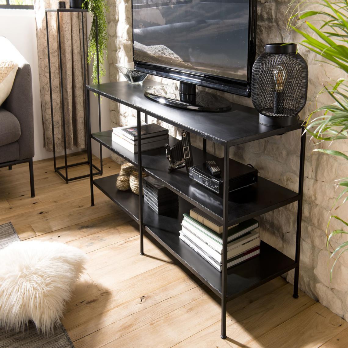 meuble tv romain 2 etageres metal industriel