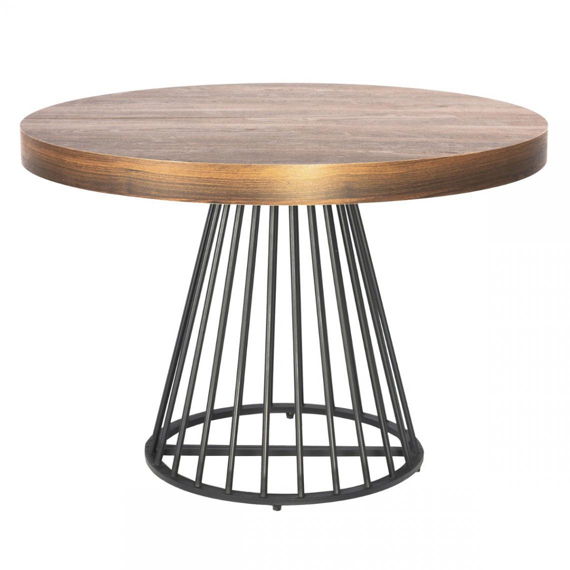 table ronde extensible grivery bois noisette pieds noir