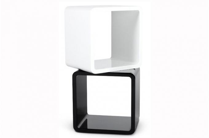 table de chevet design cube noir laque