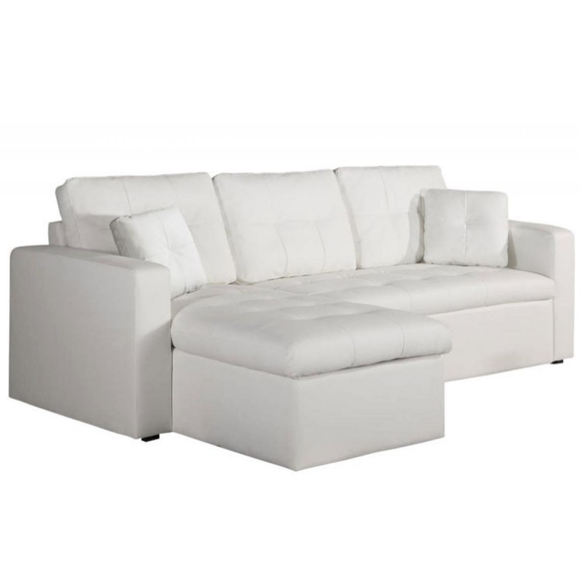 canape d angle modulable et convertible 3 places blanc enzo