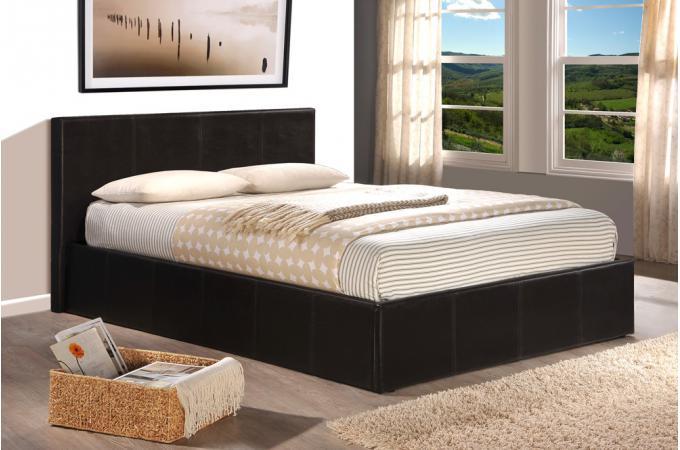 lit coffre 160x200 chocolat avec sommier