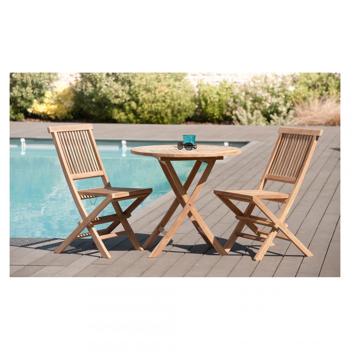 salon de jardin en bois teck 2 personnes ensemble de jardin 1 table ronde pliante 80 cm et 2 chaises