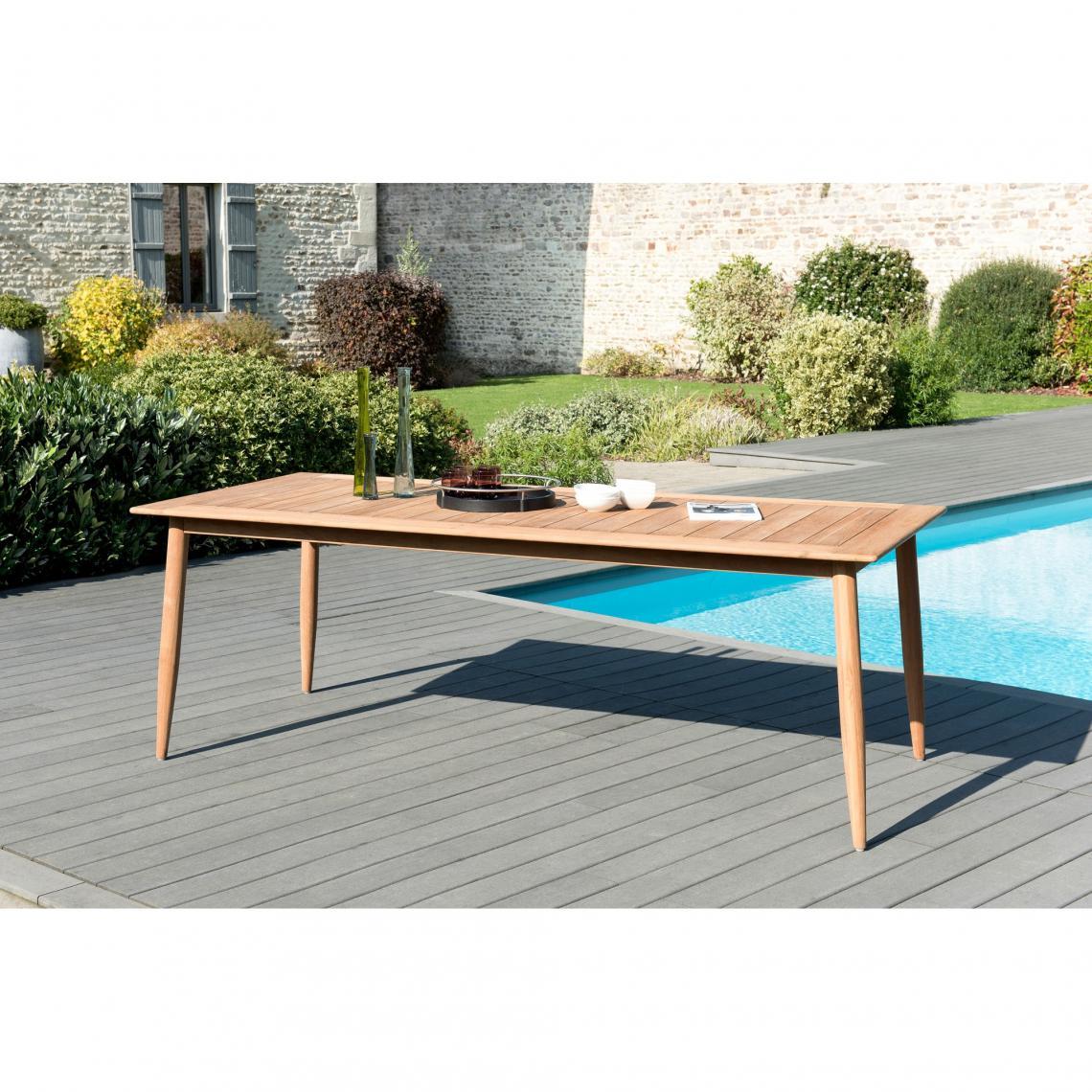 table de jardin rectangulaire avec pieds scandinaves en teck massif
