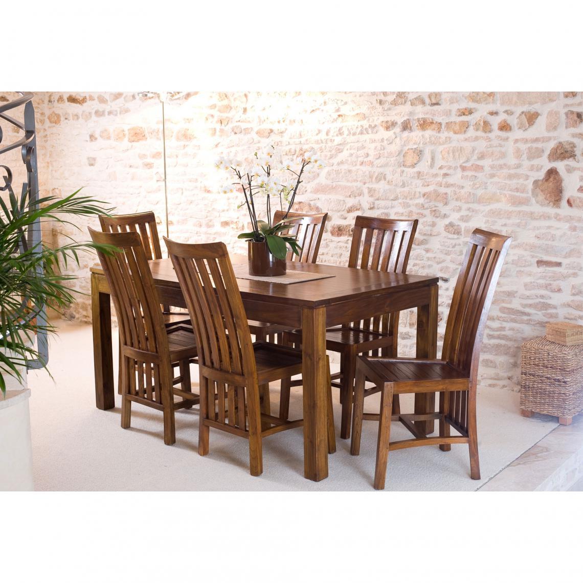 table manger rectangulaire avec allonge 160x200 cm en bois mindi