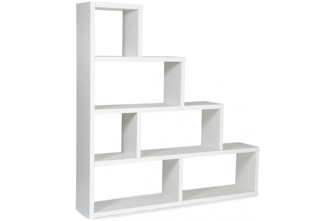 etagere escalier 6 compartiments blanc ticia