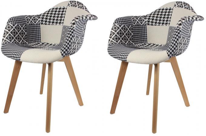 lot de 2 chaises scandinaves avec accoudoir patchwork bicolores fjord