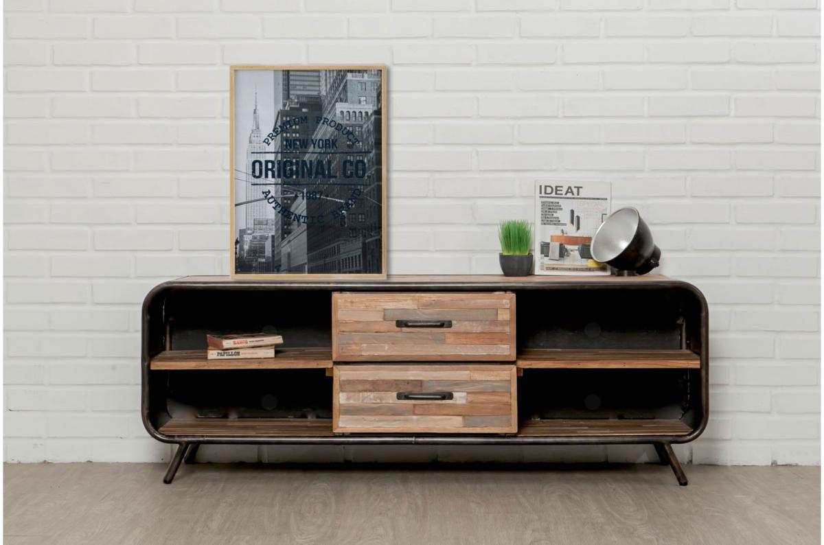 meuble tv avec 2 tiroirs et 4 niches en teck recycle et metal pasco