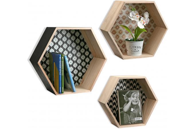 Set De 3 Tagres Hexagonale Style Scandinave En Bois PEPS
