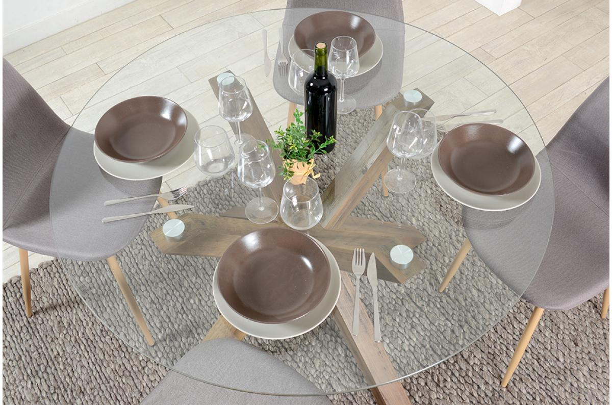 table a manger ronde verre trempe turis