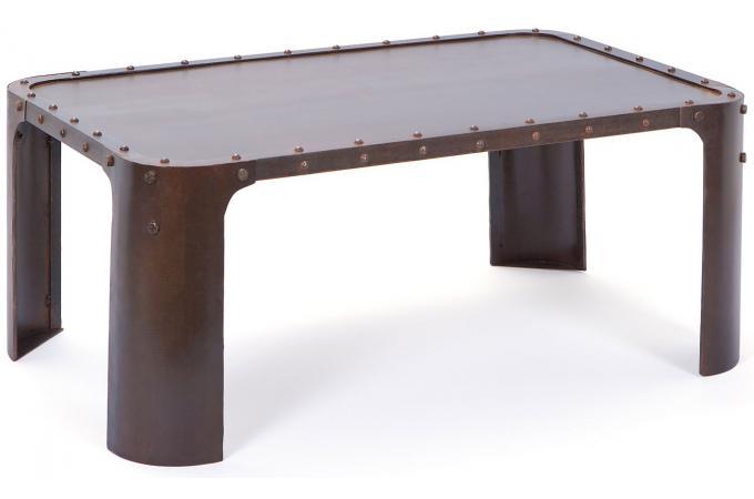 Finest Table Basse En Mtal Effet Vieilli Lena With Miroir