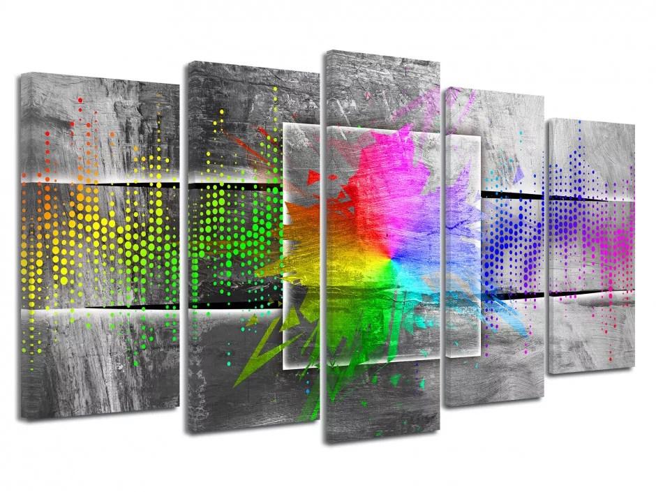 tableau toile design multicolore