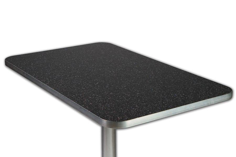 table 107cm retro paillete noir memphis et pied colonne chromee
