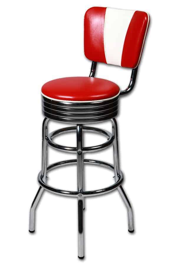 tabouret bar americain avec dossier v rouge